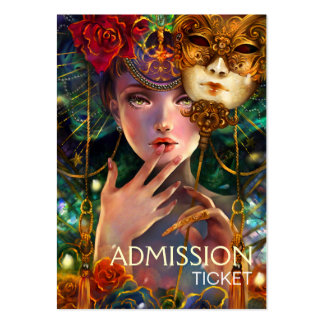 Fancy Surreal Masquerade Party Admission Tickets Business Card Template