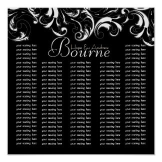 Fancy Swirl  Damask Seating Chart for Reception Poster