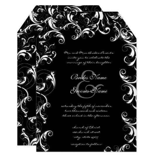 Fancy Swirl Wedding Invitation
