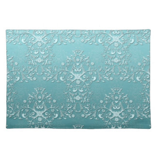 Fancy Teal Aqua Turquoise and White Damask Place Mats