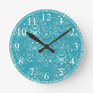 Fancy Teal Floral Damask Pattern Round Clock