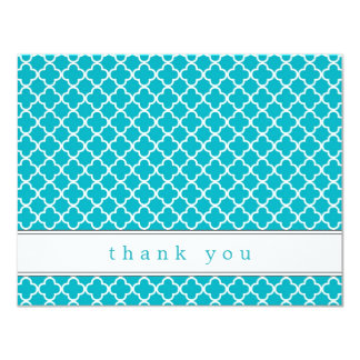 Fancy Teal Pattern Flat Thank You Note Cards 11 Cm X 14 Cm Invitation Card