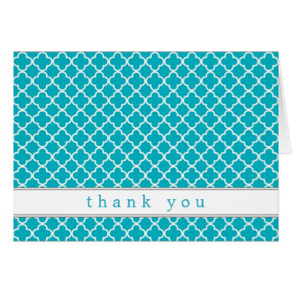 Fancy Teal Pattern Thank You Notes