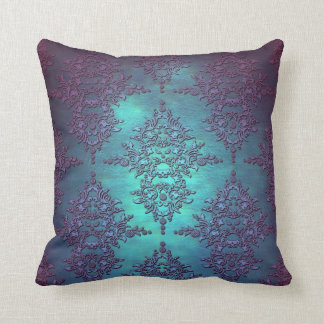 Fancy Teal to Purple Damask Pattern Cushion