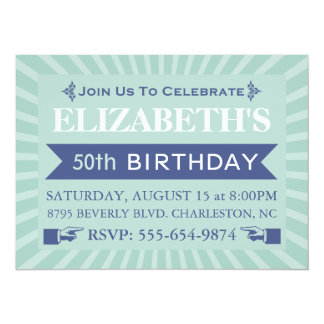 Fancy Ticket Mint 50th Birthday Party Invitations