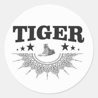 fancy tiger logo classic round sticker