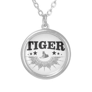 fancy tiger logo silver plated necklace