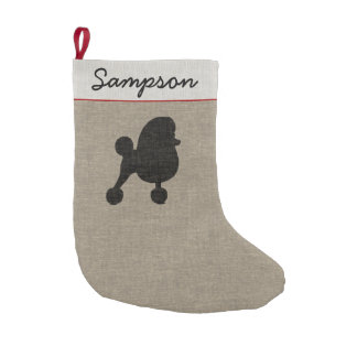 Fancy Toy Poodle Silhouette with Custom Text Small Christmas Stocking