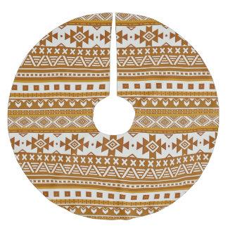 fancy tribal border pattern 08 golden (I) Brushed Polyester Tree Skirt