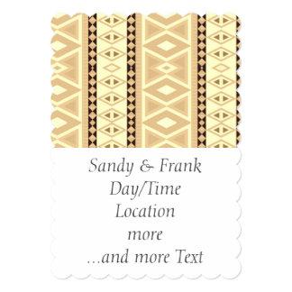 fancy tribal pattern beige (I) 13 Cm X 18 Cm Invitation Card