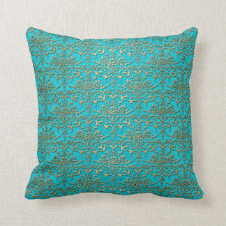 Fancy Turquoise and Gold Damask Pattern Cushion