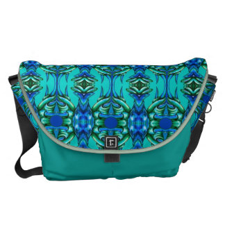 fancy turquoise blue circle tusk pattern bag courier bags