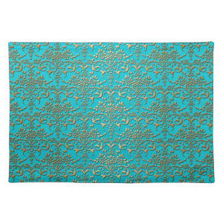 Fancy Turquoise Gold Damask Pattern Placemats