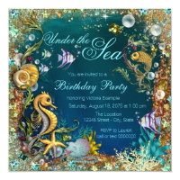 Under the sea birthday party invitations announcements zazzle fancy under the sea birthday party stopboris Images