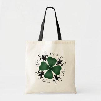 Fancy victorian shamrock St Patricks Day Budget Tote Bag