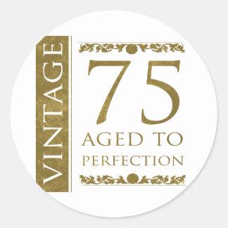 Fancy Vintage 75th Birthday Classic Round Sticker
