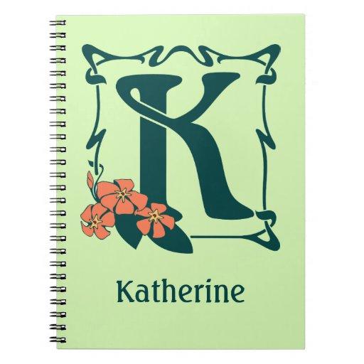 Fancy vintage art nouveau letter K Journals