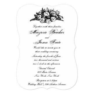 Fancy Vintage Flowers Wedding Invitation Black