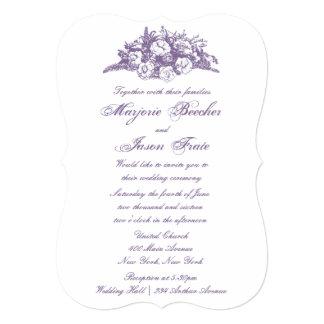 Fancy Vintage Flowers Wedding Invitation Purple
