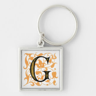 Fancy Vintage Monogram 'G' Silver-Colored Square Key Ring