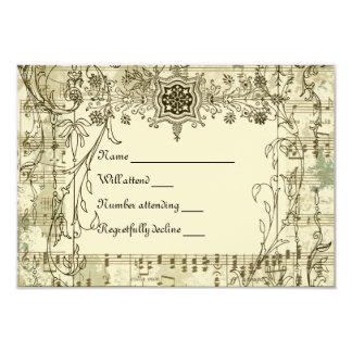 Fancy Vintage Music rsvp with envelopes Card