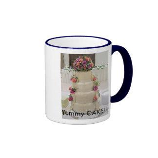 Fancy wedding cake with fresh flowers, Sammy's ... Ringer Mug