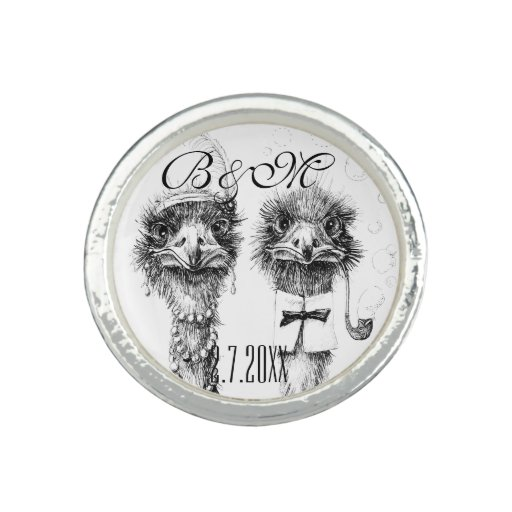 Fancy wedding ostrich couple photo ring