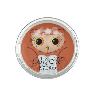Fancy wedding owl bride photo rings