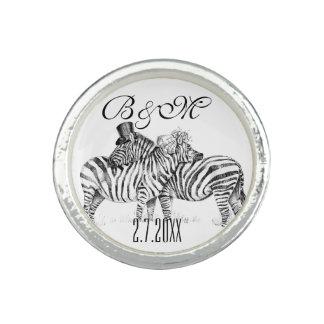 Fancy wedding zebra couple photo rings