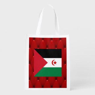 Fancy Western Sahara Flag on red velvet background