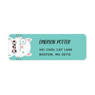 Fancy White Cat | Turquoise Return Address Label