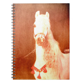 Fancy White Circus Pony Vintage Gypsy Style Note Book
