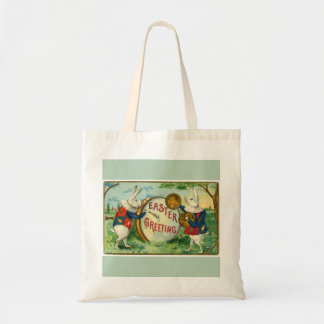 Fancy White Easter Bunnies Light Green Budget Tote