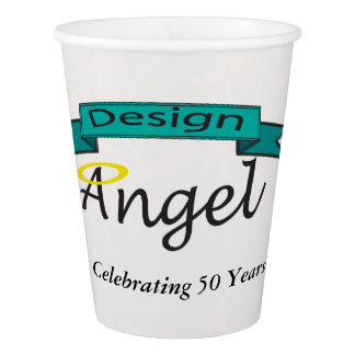 Fancy White Pattern Logo Branded Cups W/ Text