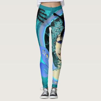Fancy Women's Leggings w. Blue Star Fairy Pattern