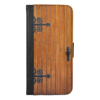 Fancy Wood Door iPhone 6 Plus Wallet Case