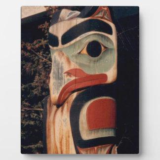 Fancy Wood Totem Pole Photo Designed Plaque Easel