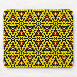 Fancy Yellow and Orange Filigree Triangle Pattern Mouse Pad