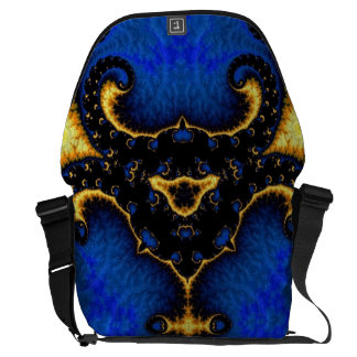 Fancy Yellow Blue Fractal Courier Bags