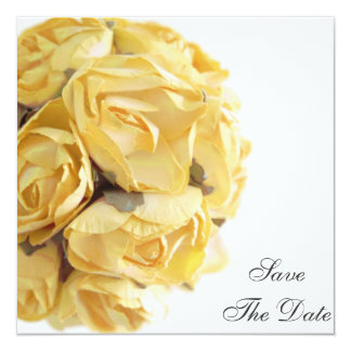 "Fancy Yellow Roses Save The Date Announcement 5.25"" Square Invitation Card"