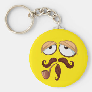 Fancy Yellow Smiley Face with Pipe and Mustache Key Ring