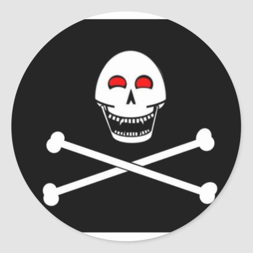Fanged Jolly Roger Flag Round Sticker