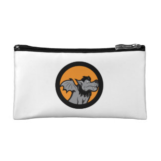 fanged wolf winged creature circle fantasy image cosmetics bags