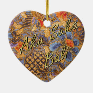 Fantasia Batik Heart Christmas Ornament