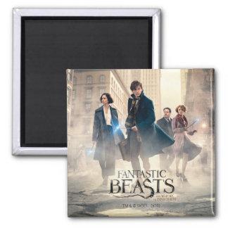 Fantastic Beasts City Fog Poster Square Magnet