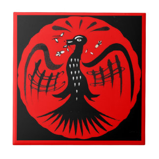 fantastic bird folk art bird Something super neato Ceramic Tile