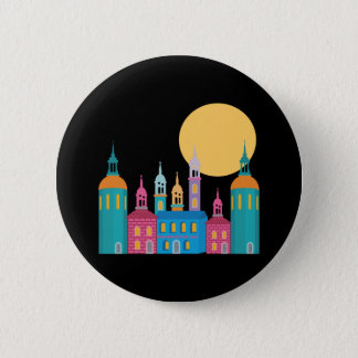 Fantastic City of Towers Under the Moon 6 Cm Round Badge
