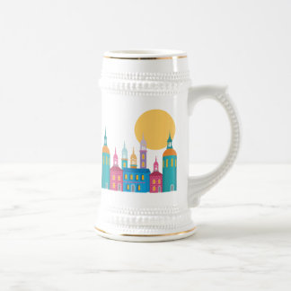 Fantastic City of Towers Under the Moon Beer Stein