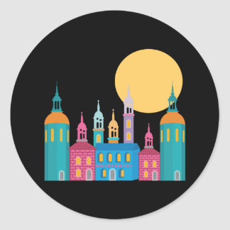 Fantastic City of Towers Under the Moon Classic Round Sticker