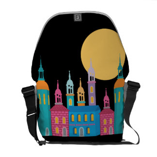 Fantastic City of Towers Under the Moon Courier Bag